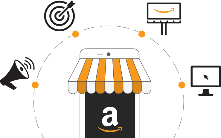 Amazon shop surrounded by megaphone, target, TV, and computer