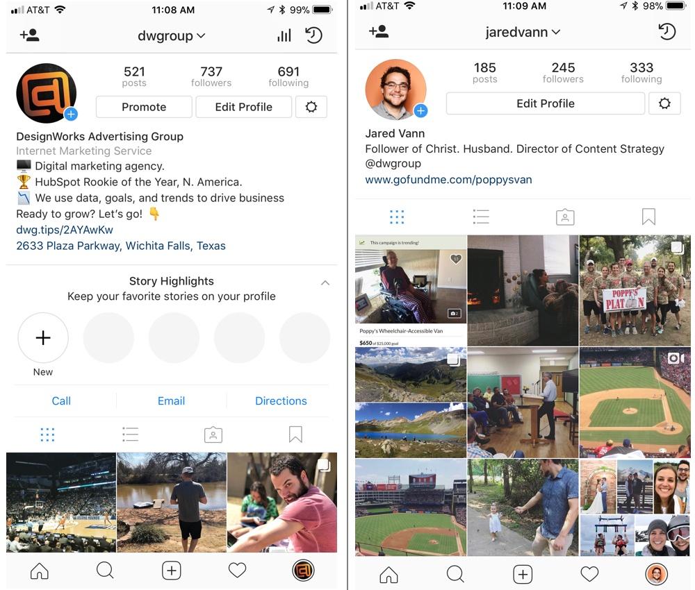 screenshots of instagram profiles